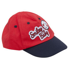 Two-tone twill cap with ©Smiley patches