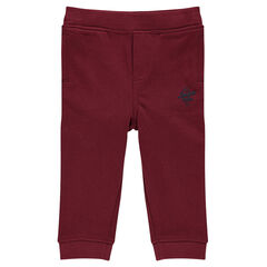 Plain-colored brushed fleece jogging pants