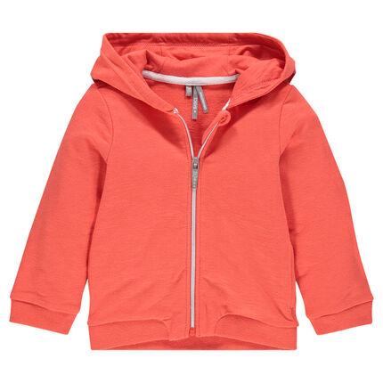 Zipped, fleece hooded jacket.