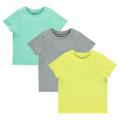 Junior - Set of 3 short-sleeved plain-colored tee-shirts