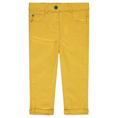 Plain-colored slim twill pants