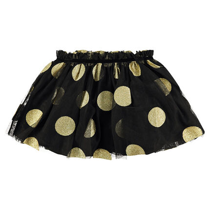 Tutu-style short tulle skirt with large sparkly golden polka dots