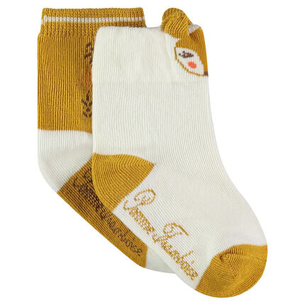 Set of 2 pairs of matching socks with a jacquard animal motif