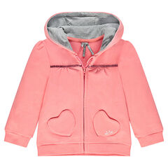 Zipped fleece jacket with hood and heart-shaped pockets