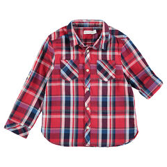 Long-sleeved red shirt with maxi checks and pockets