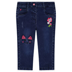 Used-effect fleece jeans with embroidered details and a cat-shaped seam