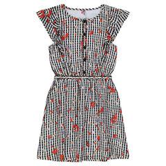 Junior - Gingham Print Floral Dress