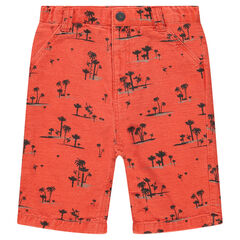 Cotton bermuda shorts with printed palm trees