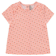 Short-sleeved tee-shirt with trendy flowery print