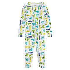 Ribbed footed sleeper with all-over crocodile print