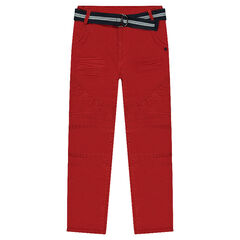 Crinkle effect canvas pants with removable belt