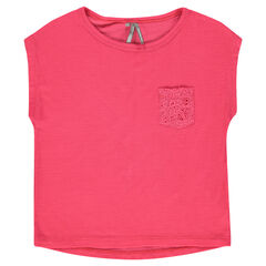 Junior - Short-sleeved, box-cut, ribbed tee-shirt with lace pocket