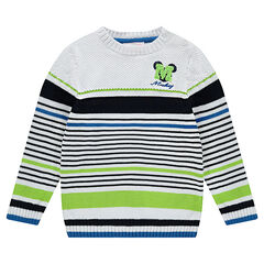 Disney Contrast Striped Knit Sweater with Embroidered Mickey