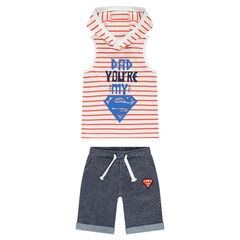 Ensemble with a striped hooded tank top featuring a ©Warner Superman print and fleece bermuda shorts