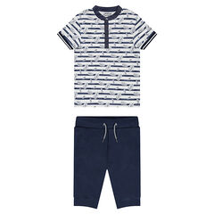 Junior - Ensemble with striped polo shirt and plain colored fleece Bermudas