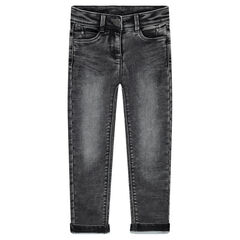 Denim-effect slim fit fleece jeans