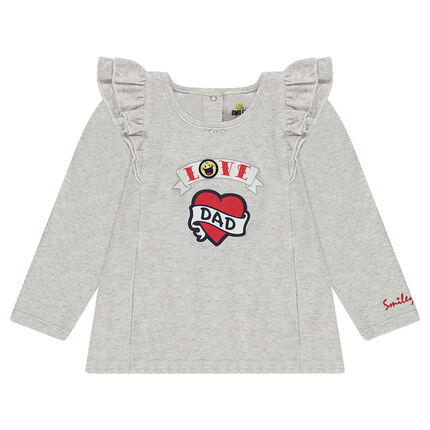 Long-sleeved tee-shirt with printed heart and ©Smiley