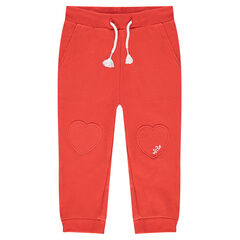 Plain-colored fleece sweatpants with heart patches