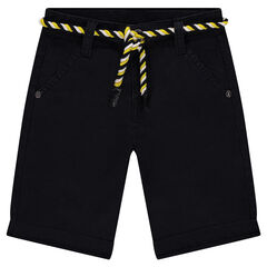Fancy cotton Bermuda short with rope belt