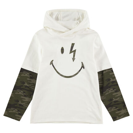 2-in-1 effect long-sleeved hooded tee-shirt with ©Smiley print