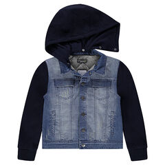 Junior - Used-effect bi-material denim jacket with a removable hood