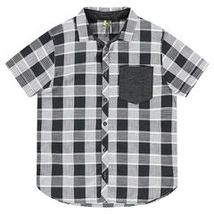 Junior - Short-sleeved shirt with allover checks and a patch pocket