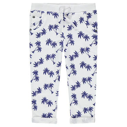 3/4 pants in slub fleece with printed palm trees