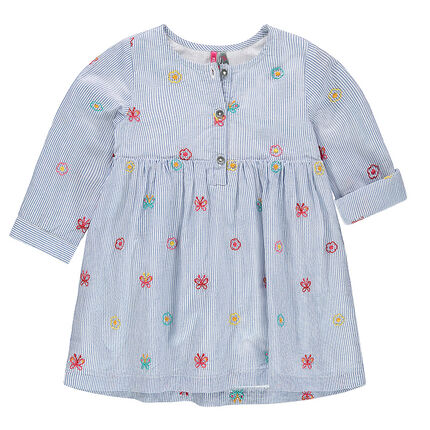 Shirt-style short-sleeved dress with thin stripes and embroidered motifs