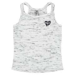 Rib knit tank top with sequined heart print