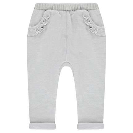 Velour sweatpants with ruffled pockets