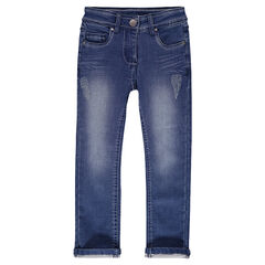 Denim-effect fleece jeans