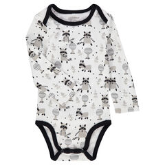 Long-sleeved interlock bodysuit with printed raccoons