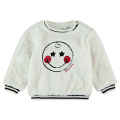 Sherpa sweatshirt with an embroidered ©Smiley in front