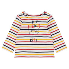 Jersey tee-shirt with allover stripes and a printed message