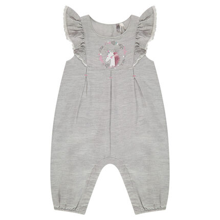Long bodysuit in heathered cotton with ruffled sleeves