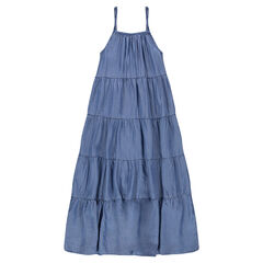 Long tencel dress with braided straps