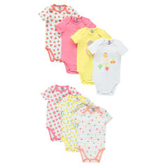 Set of 7 bodysuits featuring printed fruit with opening adapted according to the age