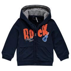 Hooded fleece jacket with printed writing