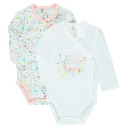 Set of 2 printed jersey bodysuits for newborns