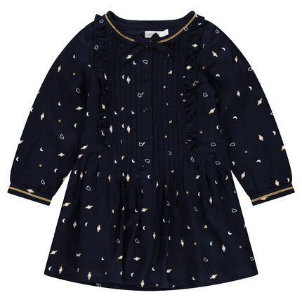 Long-sleeved dress with a galaxy print and trendy collar