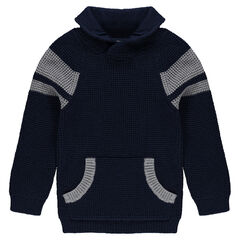 Junior - Long-sleeved knit sweater with kangaroo pocket