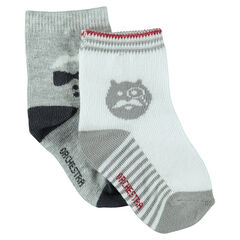 Set of 2 pairs of assorted socks with decorative motif
