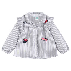 Long-sleeved cotton shirt with ©Disney Minnie Mouse badges