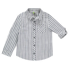 Striped Long Sleeve Shirt with Retractable Sleeves
