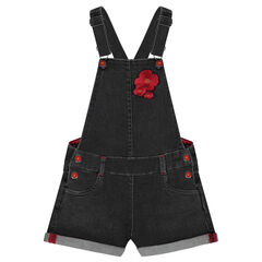 Short denim overalls with embroidered poppy