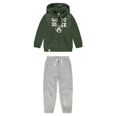 Two-tone fleece sweatsuit with printed message