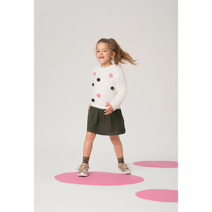 Two-tone bi-material dress with colorful pompoms