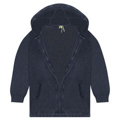 Junior - Overdyed hooded knit cardigan