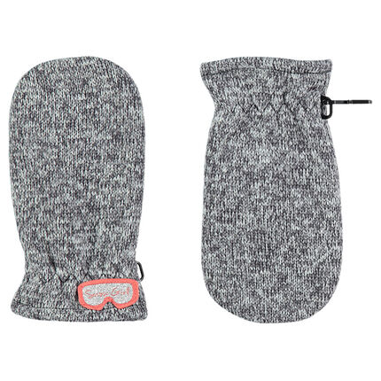 Heathered polar fleece knit mittens with mask-shaped badge