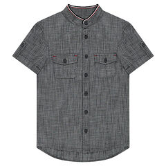 Junior - Short-sleeved chambray-effect shirt with pockets